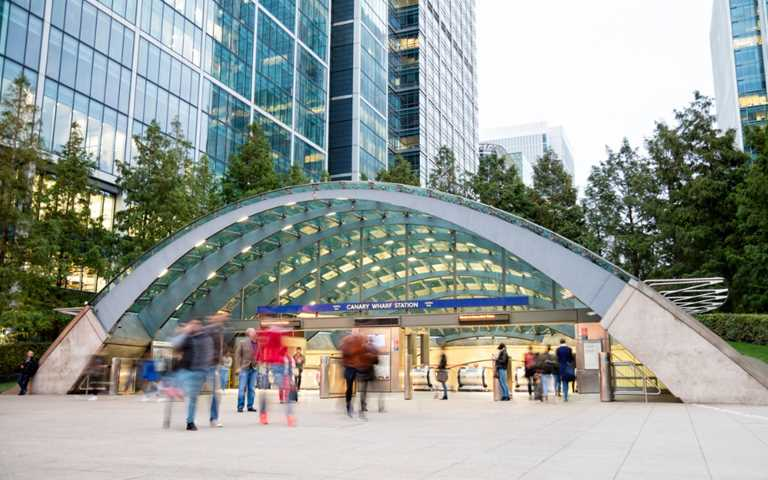 Canary Wharf Tube Station in the Docklands Financial Services area of London